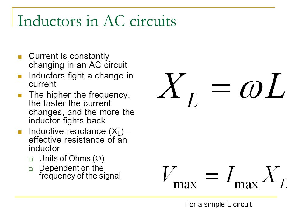 Inductors in AC circuits