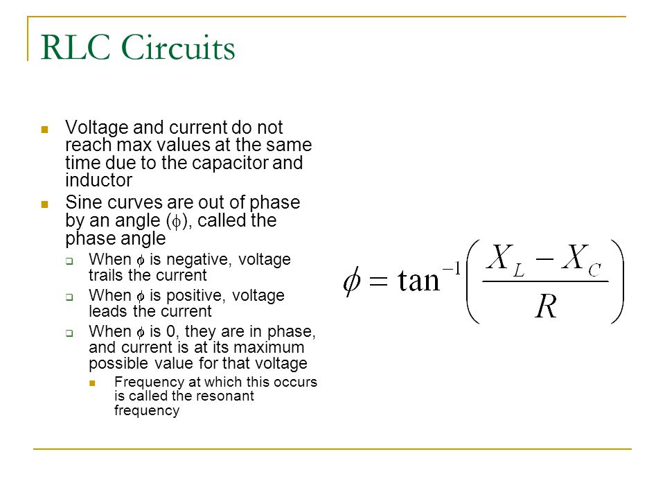 RLC Circuits Voltage and current do not reach max values at the same time due to the capacitor and inductor.