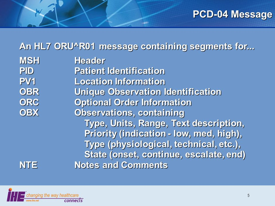 PCD-04 Message An HL7 ORU^R01 message containing segments for...