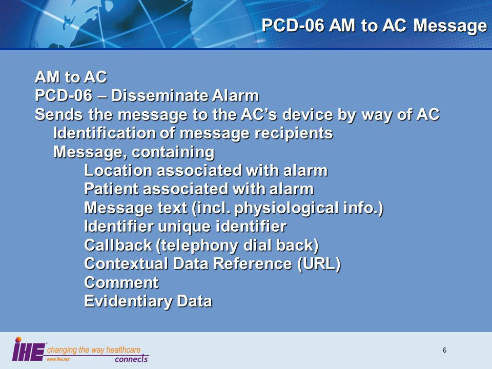 PCD-06 AM to AC Message AM to AC PCD-06 – Disseminate Alarm