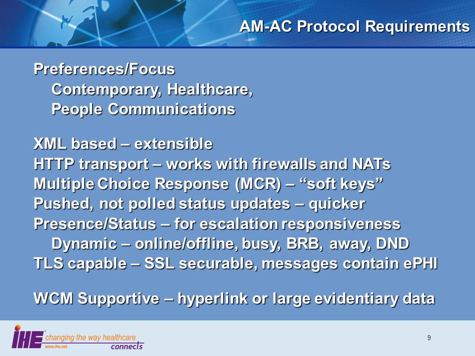 AM-AC Protocol Requirements