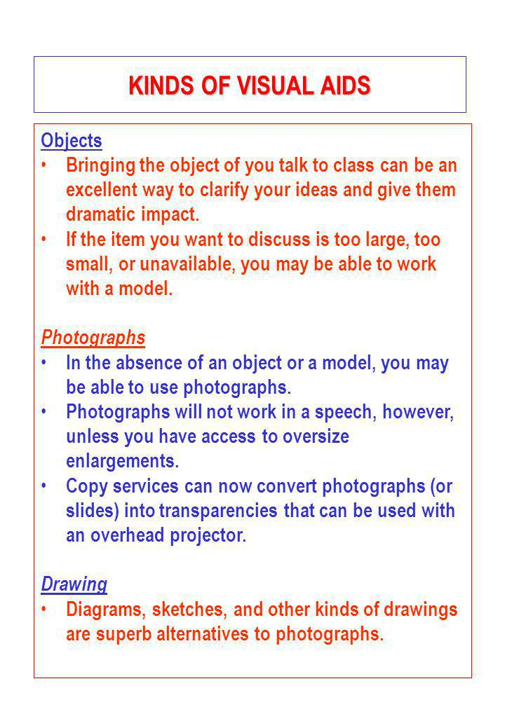 KINDS OF VISUAL AIDS Objects