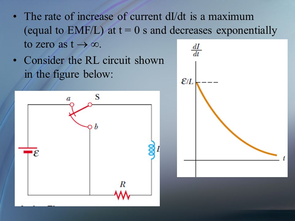 The rate of increase of current dI/dt is a maximum (equal to EMF/L) at t = 0 s and decreases exponentially to zero as t  .
