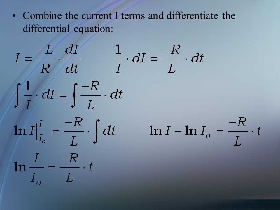 Combine the current I terms and differentiate the differential equation: