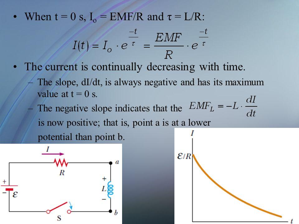 When t = 0 s, Io = EMF/R and τ = L/R: