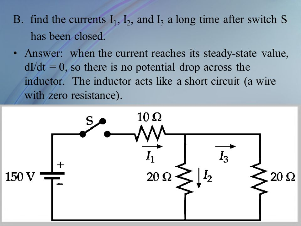 find the currents I1, I2, and I3 a long time after switch S