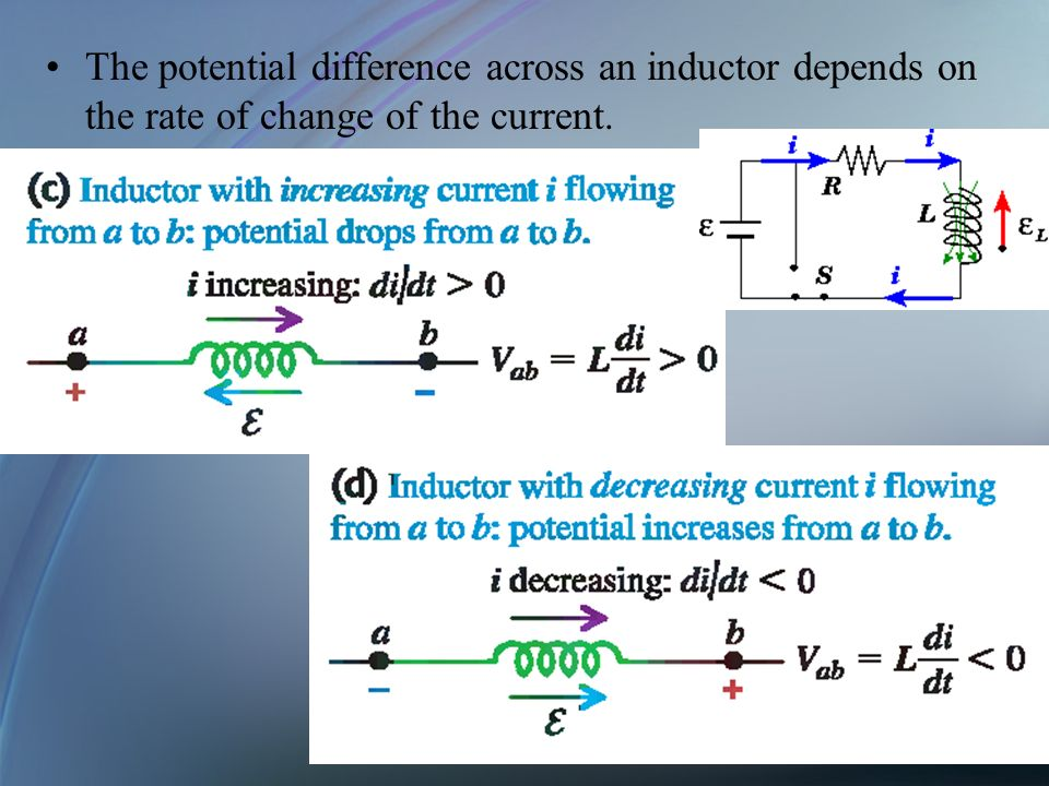 The potential difference across an inductor depends on the rate of change of the current.