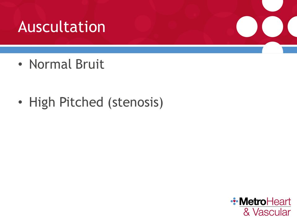 Auscultation Normal Bruit High Pitched (stenosis)