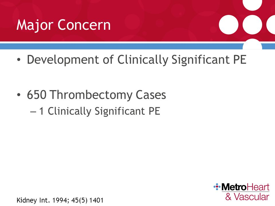 Major Concern Development of Clinically Significant PE
