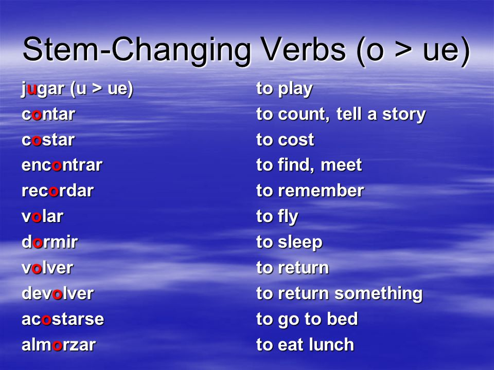 Stem-Changing Verbs (o > ue)