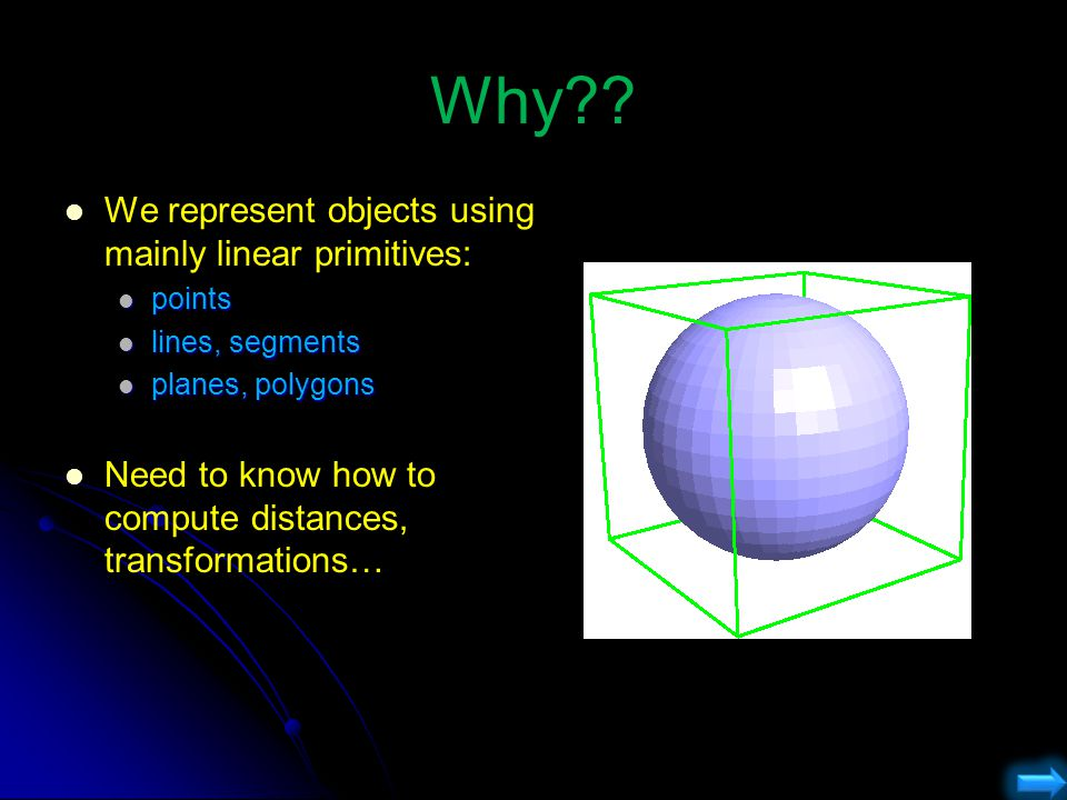 Why We represent objects using mainly linear primitives: