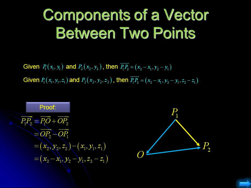 Components of a Vector Between Two Points