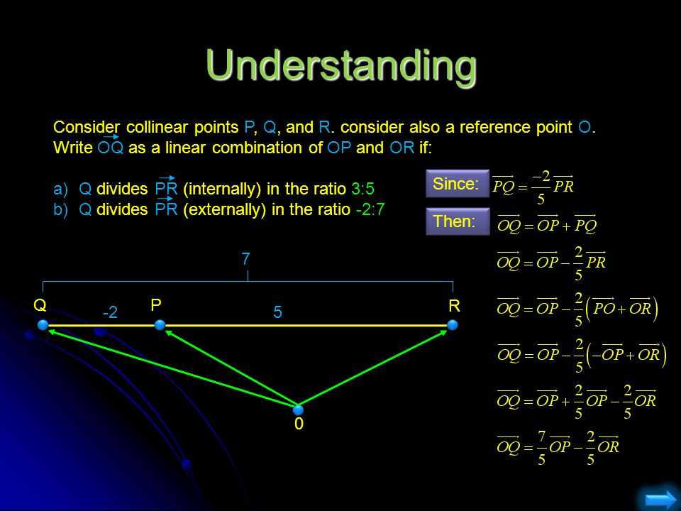Understanding Consider collinear points P, Q, and R. consider also a reference point O. Write OQ as a linear combination of OP and OR if: