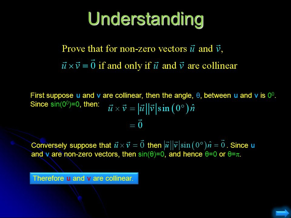 Understanding First suppose u and v are collinear, then the angle, θ, between u and v is 00. Since sin(00)=0, then: