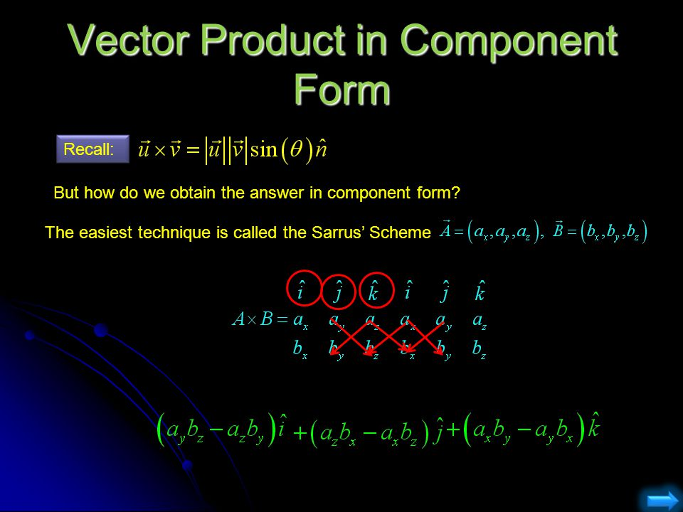 Vector Product in Component Form
