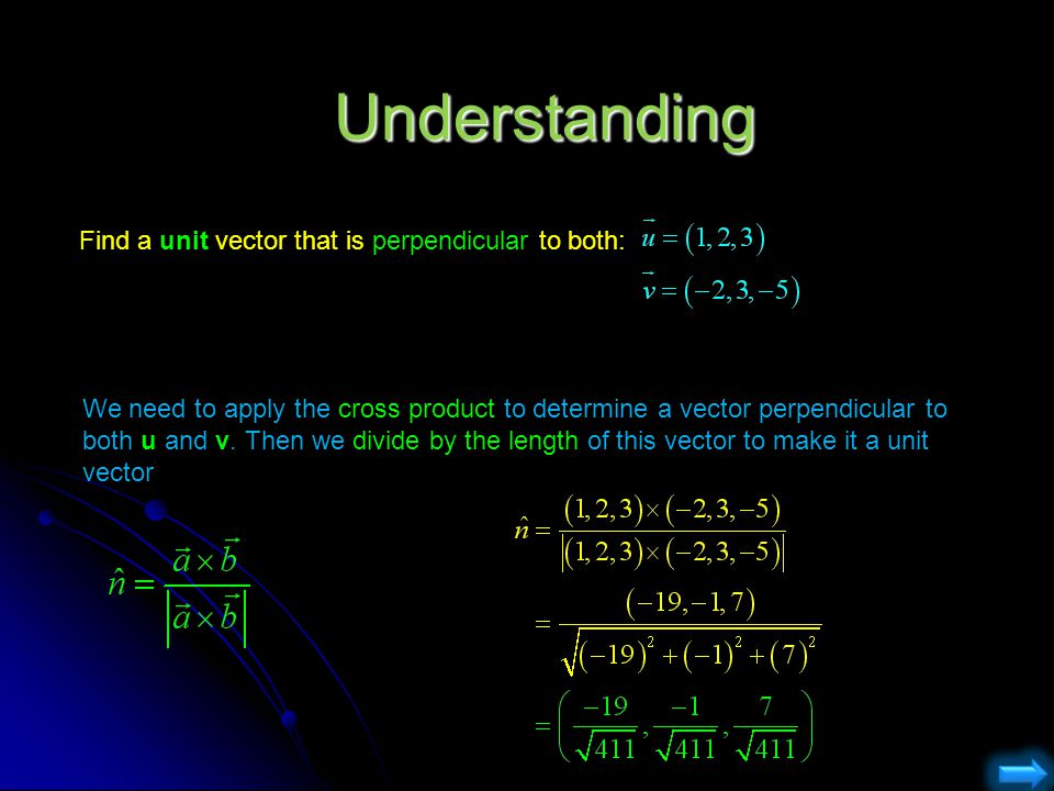 Understanding Find a unit vector that is perpendicular to both: