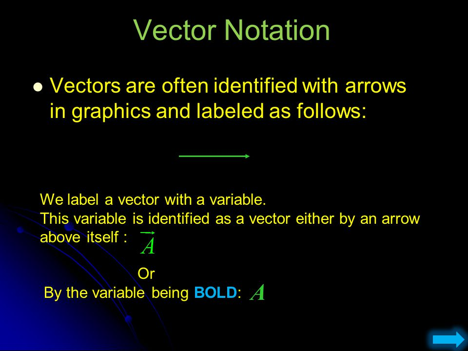 Vector Notation Vectors are often identified with arrows in graphics and labeled as follows: We label a vector with a variable.
