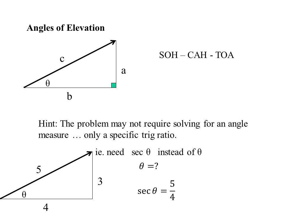 c a b Angles of Elevation SOH – CAH - TOA θ