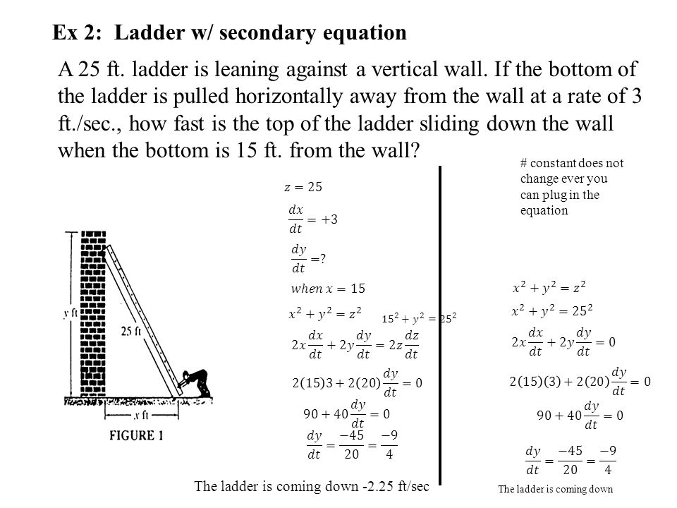 Ex 2: Ladder w/ secondary equation