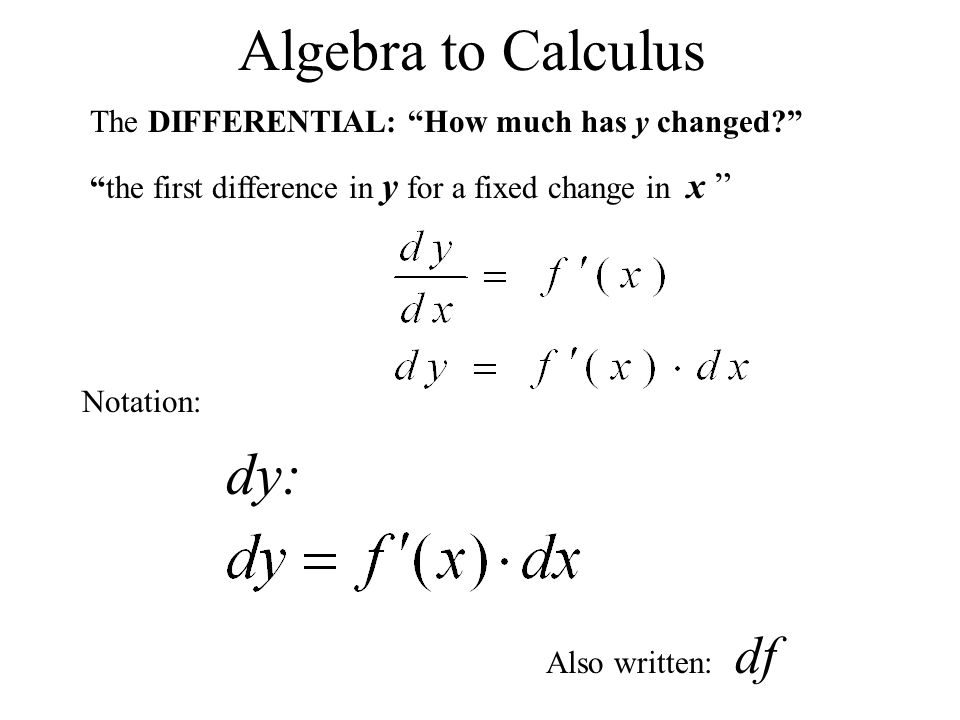 Algebra to Calculus dy: The DIFFERENTIAL: How much has y changed