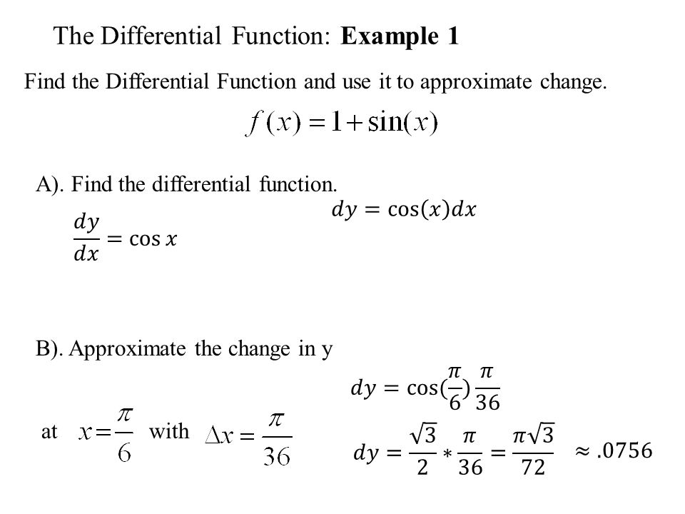 The Differential Function: Example 1