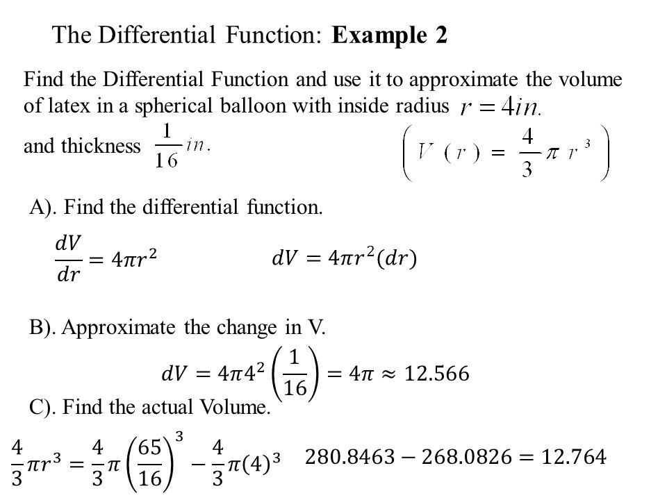 The Differential Function: Example 2