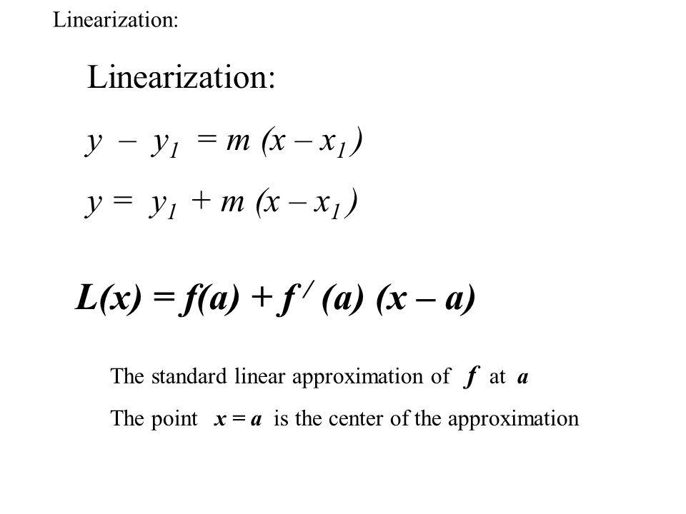 L(x) = f(a) + f / (a) (x – a)