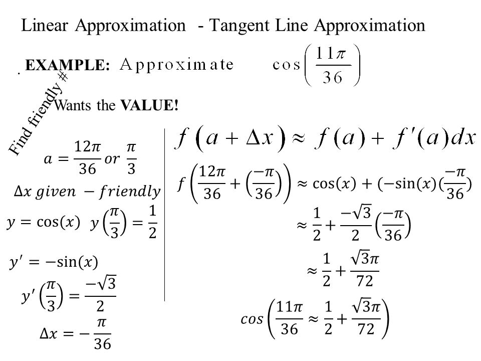 Linear Approximation - Tangent Line Approximation