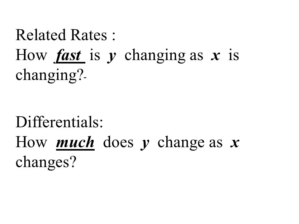 Related Rates : How fast is y changing as x is changing - Differentials: How much does y change as x changes