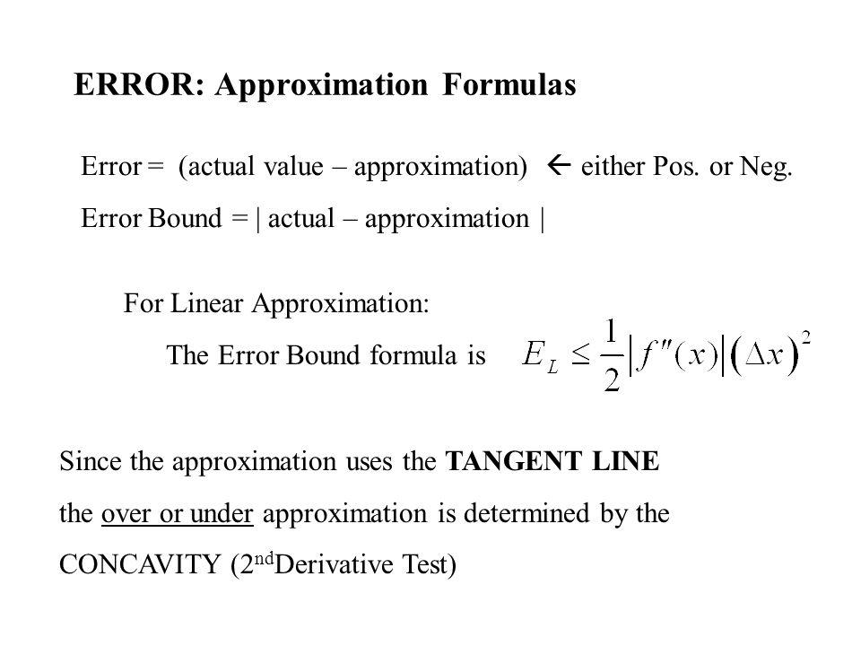 ERROR: Approximation Formulas