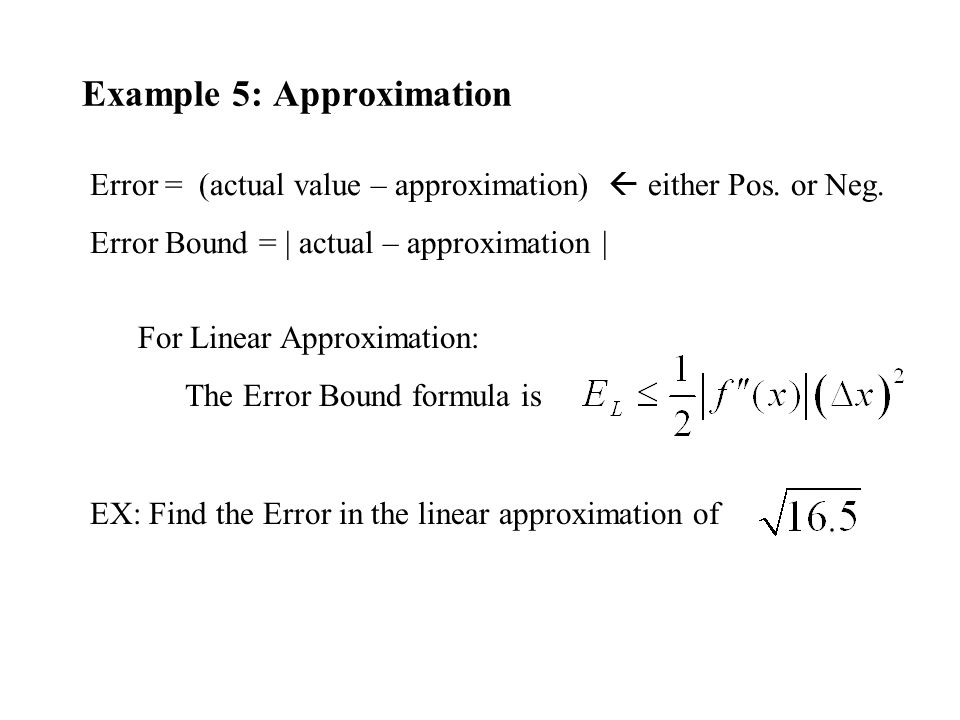 Example 5: Approximation