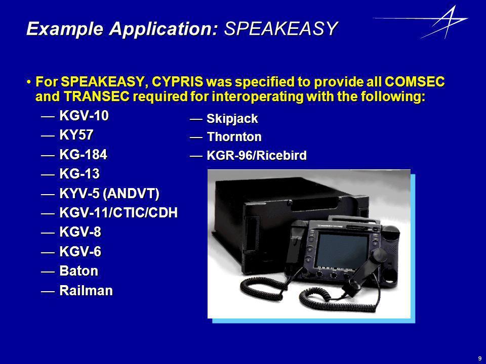 Example Application: SPEAKEASY