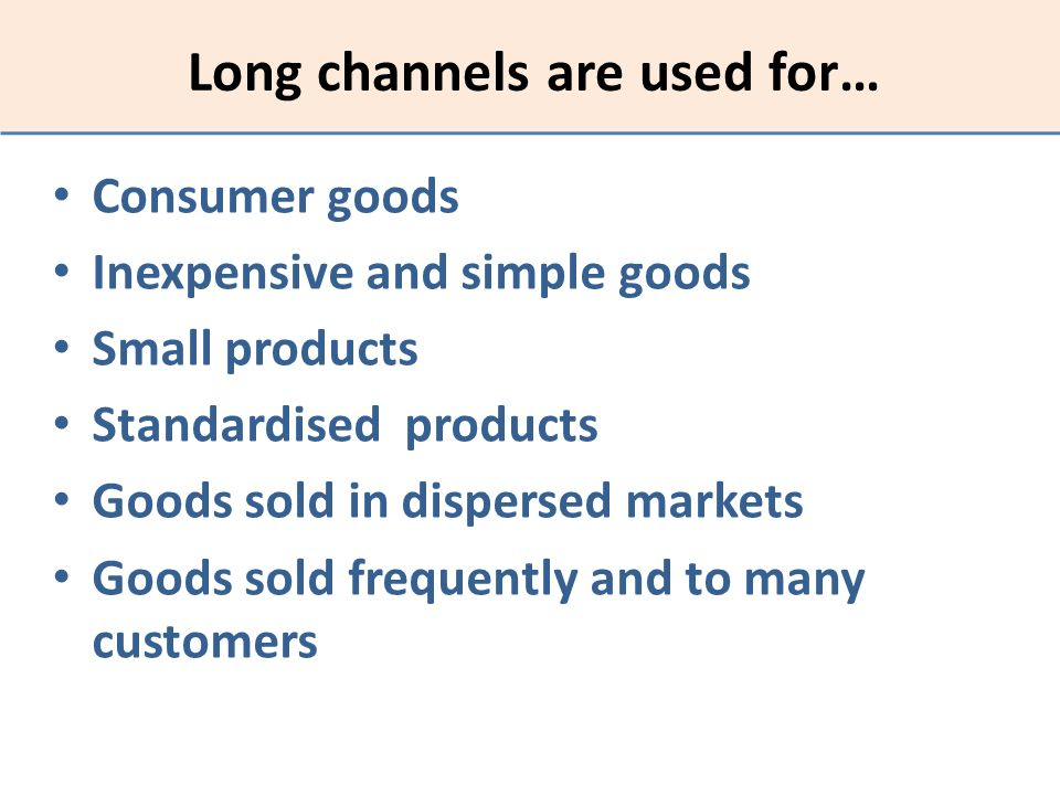 Long channels are used for…