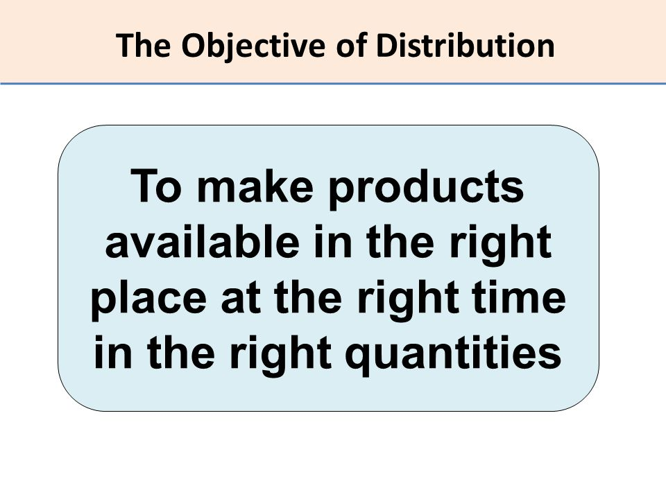 The Objective of Distribution