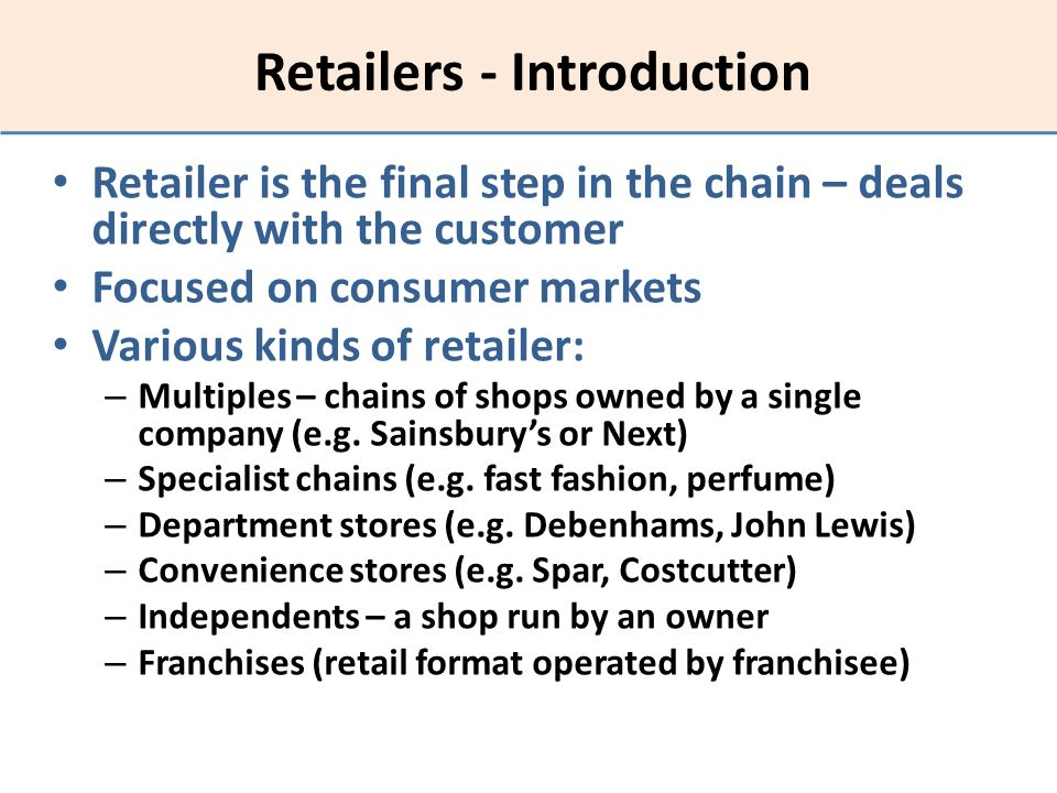 Retailers - Introduction