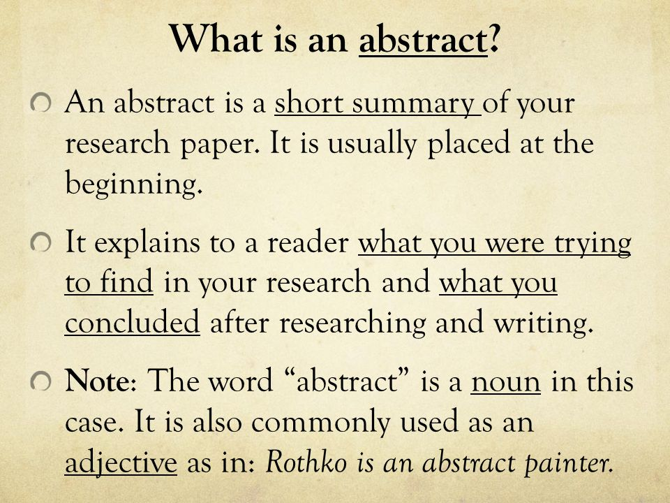 How to write a brief abstract