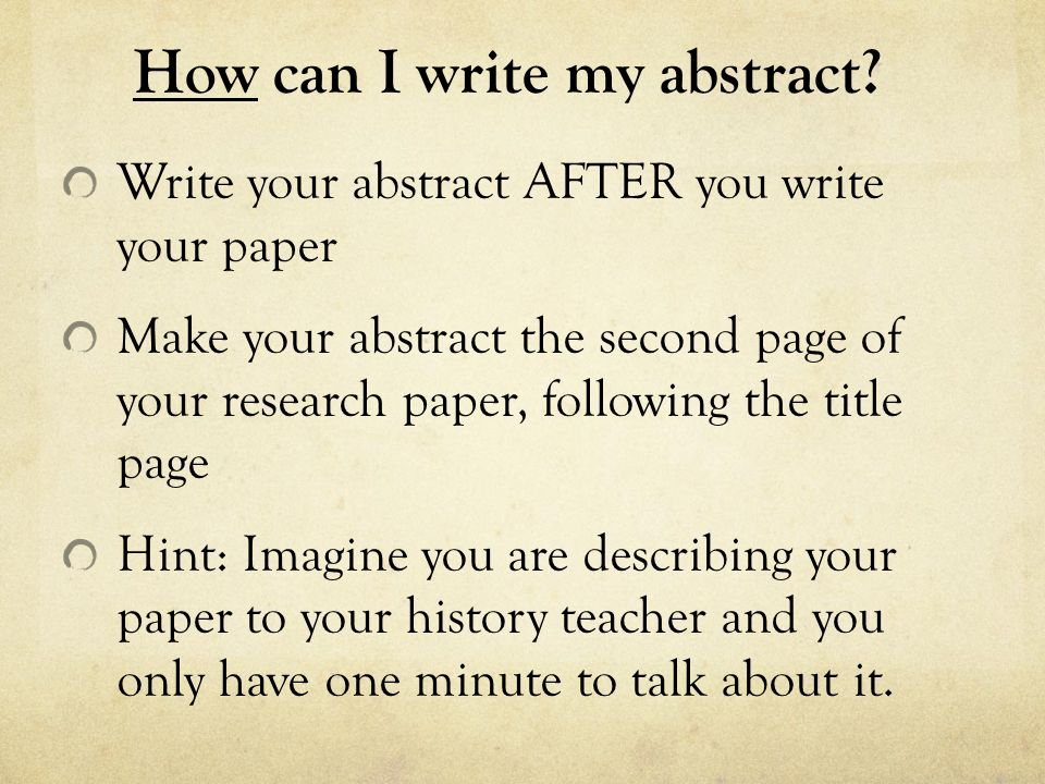 How can I write my abstract