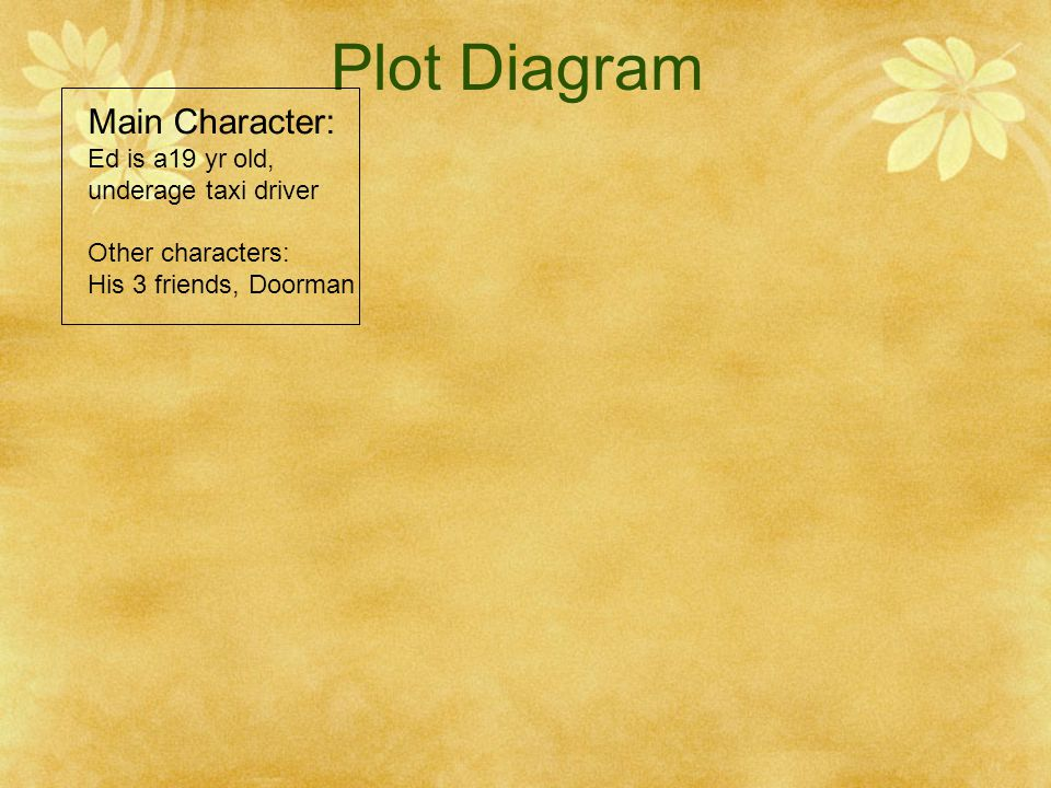 Plot Diagram Main Character: Ed is a19 yr old, underage taxi driver