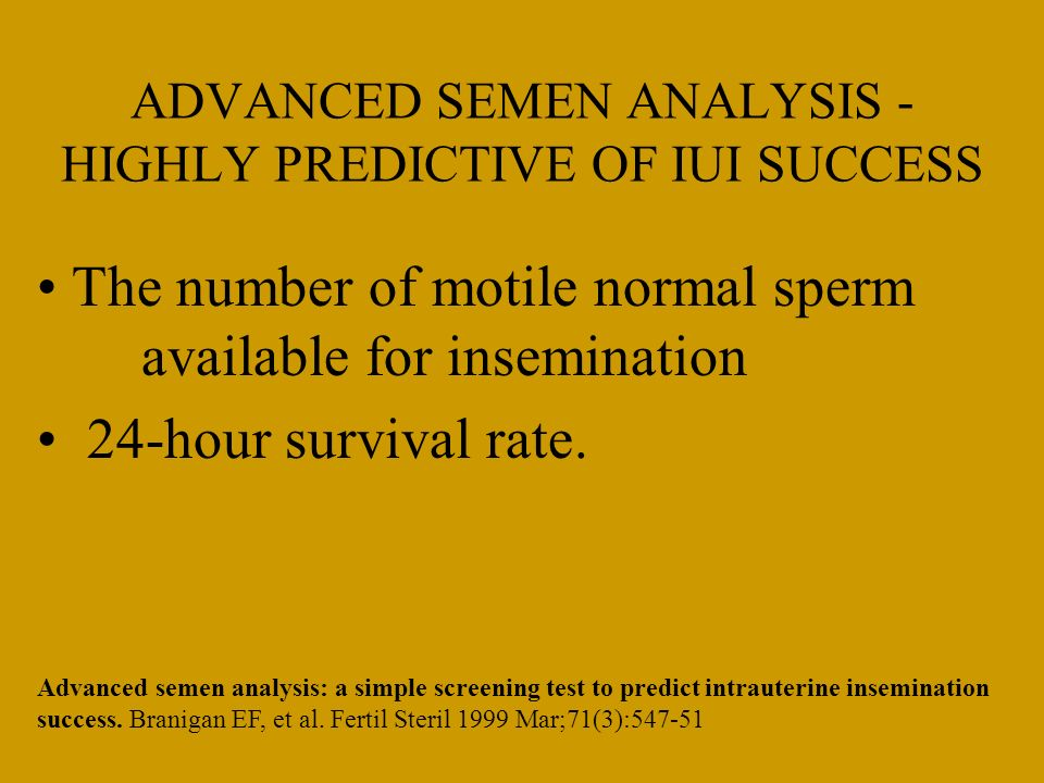 ADVANCED SEMEN ANALYSIS - HIGHLY PREDICTIVE OF IUI SUCCESS