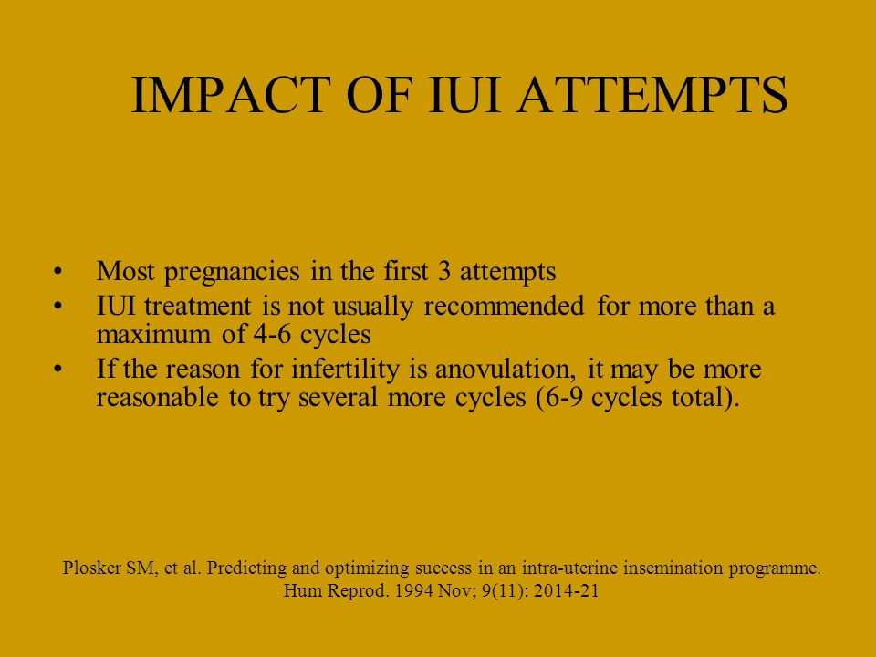 IMPACT OF IUI ATTEMPTS Most pregnancies in the first 3 attempts
