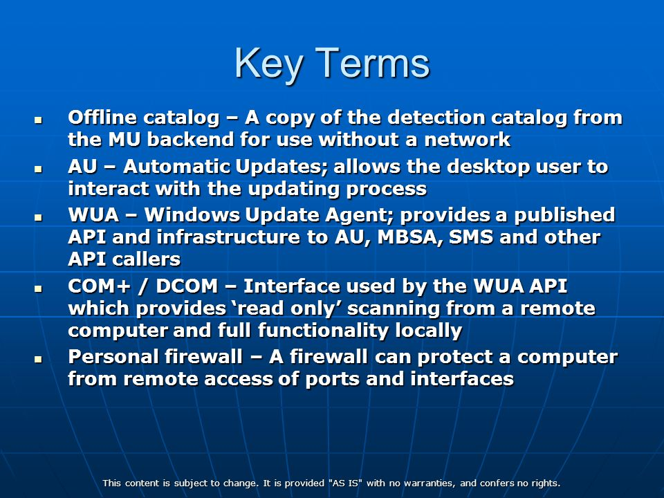 Key Terms Offline catalog – A copy of the detection catalog from the MU backend for use without a network.