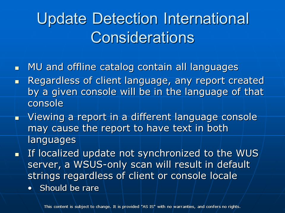 Update Detection International Considerations