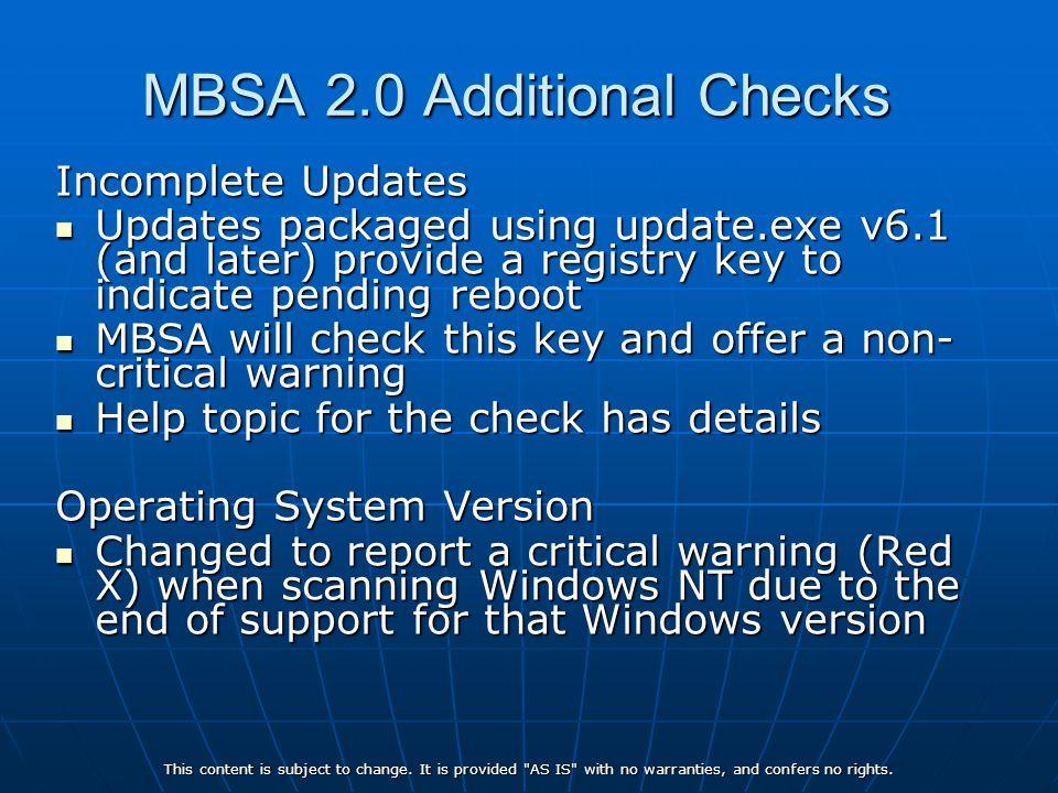 MBSA 2.0 Additional Checks