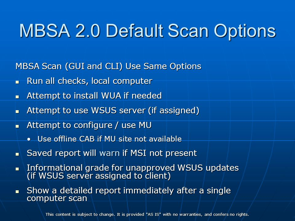 MBSA 2.0 Default Scan Options