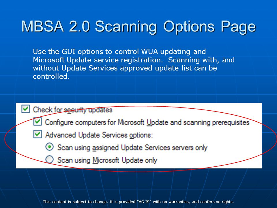 MBSA 2.0 Scanning Options Page