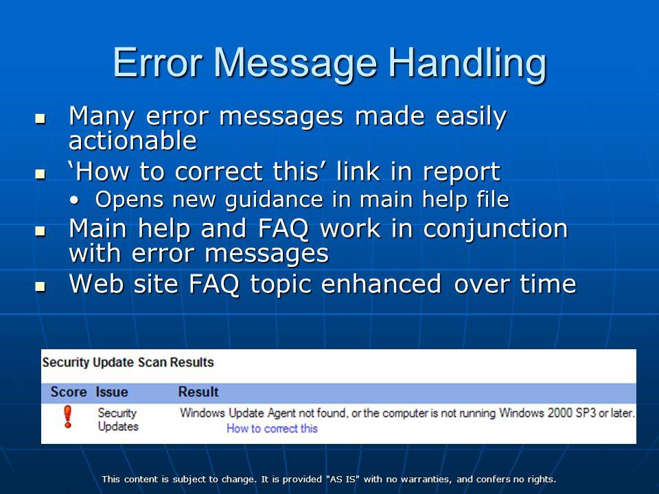 Error Message Handling
