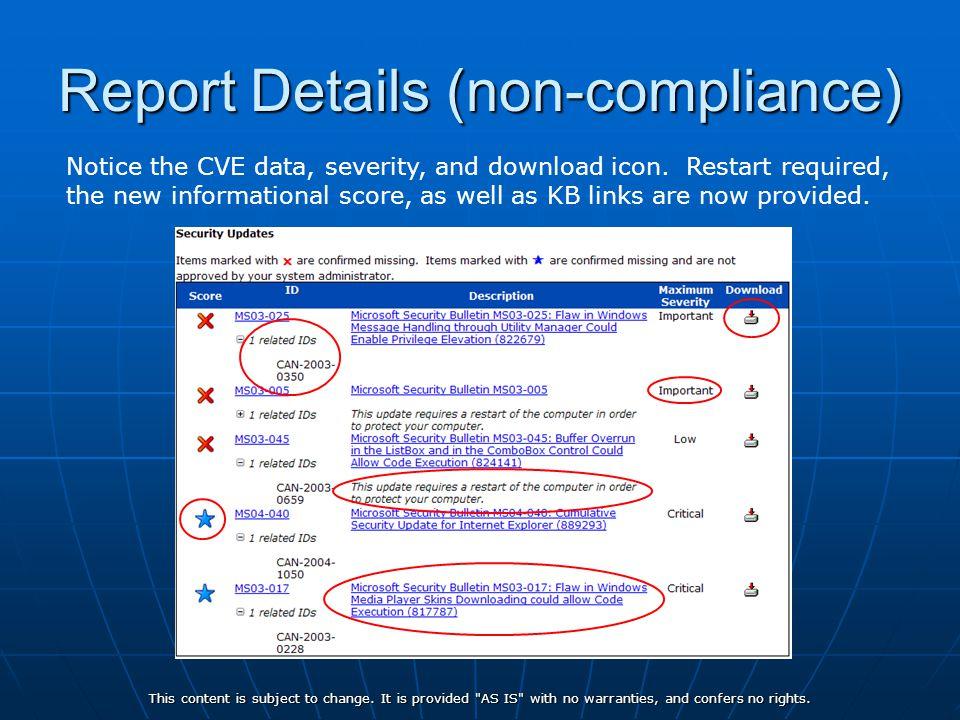 Report Details (non-compliance)