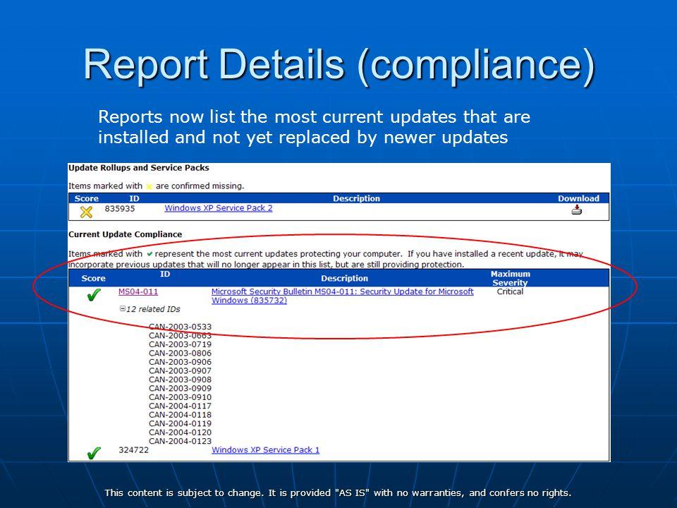 Report Details (compliance)