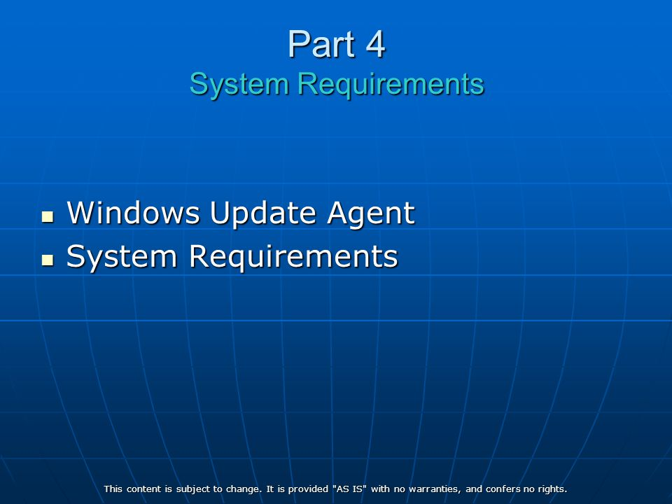 Part 4 System Requirements