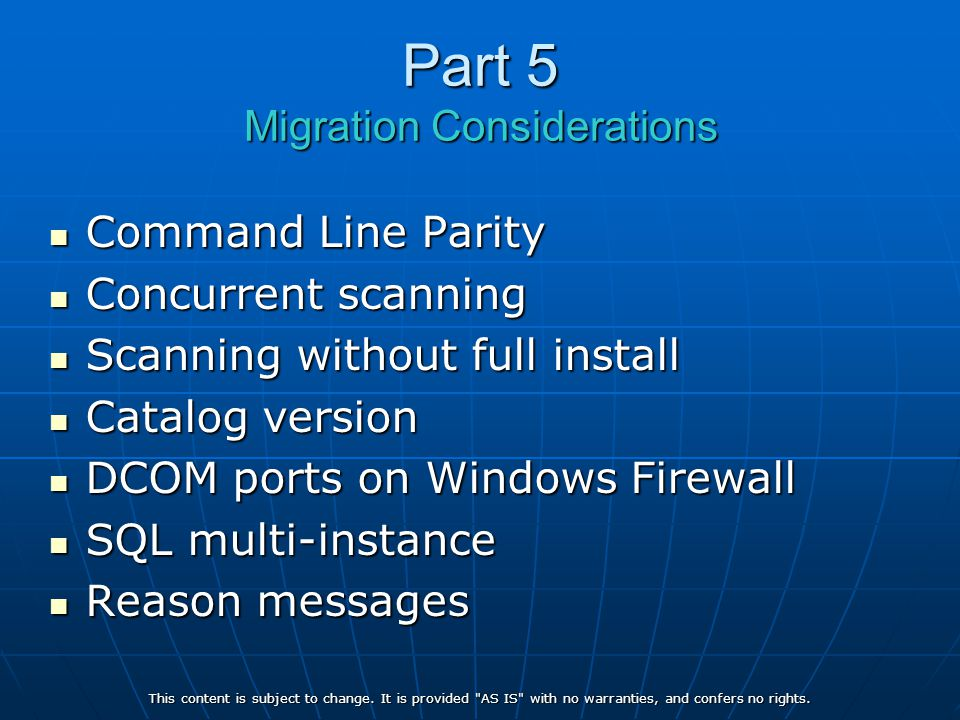 Part 5 Migration Considerations